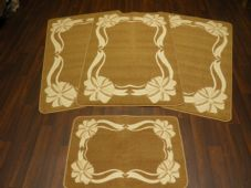 ROMANY GYPSY WASHABLES NEW 2017 BOW/SCROLL FULL SET OF 4 MATS/RUG CREAM/BISCUIT